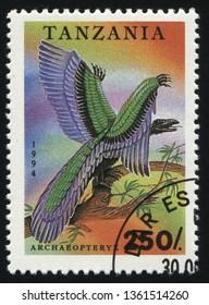 RUSSIA KALININGRAD, 25 MARCH 2019: stamp printed by Tanzania shows prehistoric dinosaur, circa 1994