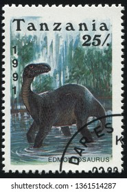 RUSSIA KALININGRAD, 25 MARCH 2019: stamp printed by Tanzania shows prehistoric dinosaur, circa 1991