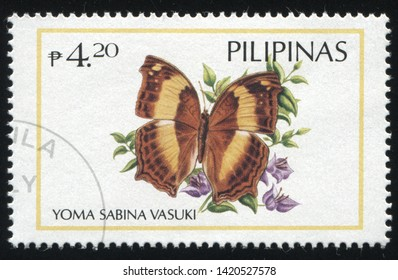 RUSSIA KALININGRAD, 26 MARCH 2019: stamp printed by Philippines shows beautiful butterfly, circa 1996