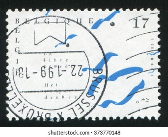 RUSSIA KALININGRAD, 26 OCTOBER 2015: stamp printed by Belgium, shows Free Thinking, circa 1998