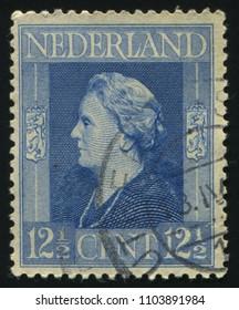 RUSSIA KALININGRAD, 27 JUNE 2017: stamp printed by Netherlands shows Queen Wilhelmina, circa 1945