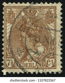 RUSSIA KALININGRAD, 27 JUNE 2017: stamp printed by Netherlands shows Queen Wilhelmina, circa 1902