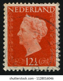 RUSSIA KALININGRAD, 27 JUNE 2017: stamp printed by Netherlands shows queen Wilhelmina, circa 1941