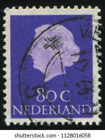 RUSSIA KALININGRAD, 27 JUNE 2017: stamp printed by Netherlands shows Queen Juliana, circa 1954