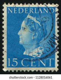 RUSSIA KALININGRAD, 27 JUNE 2017: stamp printed by Netherlands shows Queen Queen Wilhelmina, circa 1941