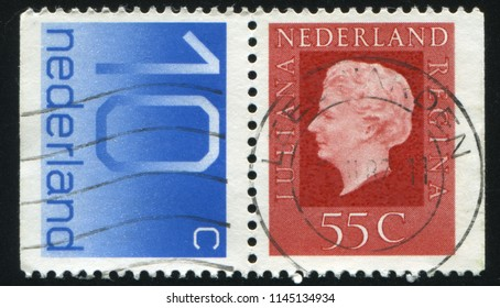 RUSSIA KALININGRAD, 27 JUNE 2017: stamp printed by Netherlands shows Queen Juliana, circa 1969