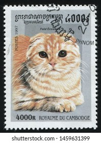 RUSSIA KALININGRAD, 27 MARCH 2019: stamp printed by Cambodia shows cute and charming cat plays, circa 1997
