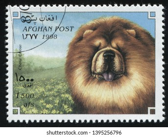 RUSSIA KALININGRAD, 28 MARCH 2019: stamp printed by Afghanistan shows purebred domestic dog, circa 1998