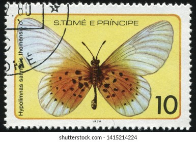 RUSSIA KALININGRAD, 28 MARCH 2019: stamp printed by Sao Tome and Principe shows beautiful butterfly, circa 1979