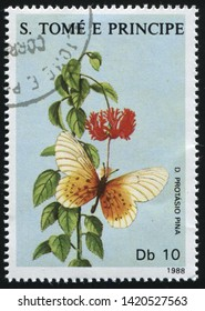 RUSSIA KALININGRAD, 28 MARCH 2019: stamp printed by Sao Tome and Principe shows beautiful butterfly, circa 1988