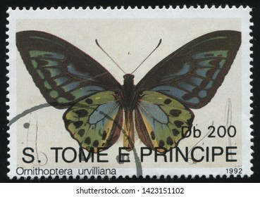 RUSSIA KALININGRAD, 28 MARCH 2019: stamp printed by Sao Tome and Principe shows beautiful butterfly, circa 1992