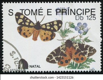 RUSSIA KALININGRAD, 28 MARCH 2019: stamp printed by Sao Tome and Principe shows beautiful butterfly, circa 1991