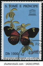 RUSSIA KALININGRAD, 28 MARCH 2019: stamp printed by Sao Tome and Principe shows beautiful butterfly, circa 1996