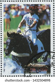 RUSSIA KALININGRAD, 28 MARCH 2019: stamp printed by Sao Tome and Principe shows horse, circa 1995