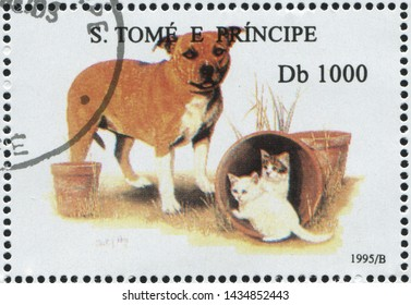 RUSSIA KALININGRAD, 28 MARCH 2019: stamp printed by Sao Tome and Principe shows dog, circa 1995