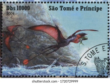 RUSSIA KALININGRAD, 28 MARCH 2019: stamp printed by Sao Tome and Principe shows dinosaur, circa 2004