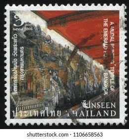 RUSSIA KALININGRAD, 3 JUNE 2016: stamp printed by Thailand, shows mural paintng in the temple, circa 2004