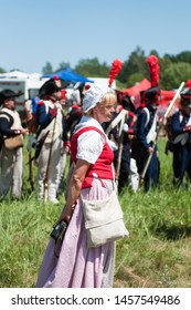 RUSSIA KALININGRAD, 30 JUNE 2019: Historical reenactment of the Battle of Friedland,  Napoleonic Wars  Kaliningrad region, Russia.