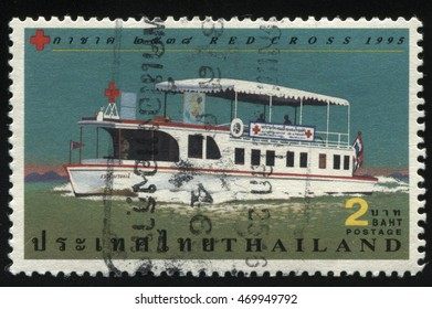 RUSSIA KALININGRAD, 31 MAY 2016: stamp printed by Thailand, shows Red Cross Ships, circa 1995