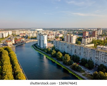 Russia, Kaliningrad. Aerial view of the city center of Kaliningrad. Lighthouse in the Fish Village, Russia