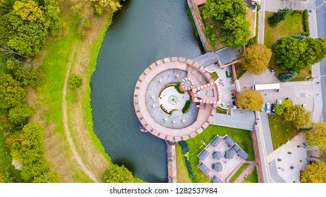 Russia, Kaliningrad. Fortress tower dating from the mid-nineteenth century. Located in the center of Kaliningrad on the Verkhneye Lake shore, From Drone