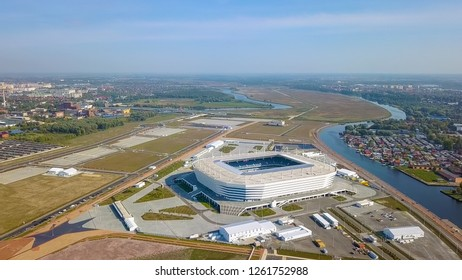 "Russia, Kaliningrad - September 20, 2018: Aerial view of the stadium ""Kaliningrad"" - a football stadium in Kaliningrad, built in 2018 specifically for the matches of the 2018 FIFA World Cup"