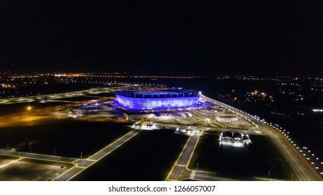 Russia, Kaliningrad - September 20, 2018: Aerial night view stadium Kaliningrad - football stadium in Kaliningrad, built in 2018 for the matches of the 2018 FIFA World Cup, From Drone