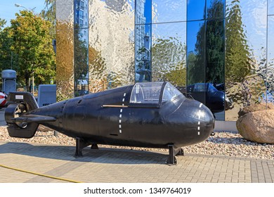 Russia, Kaliningrad - September 20, 2018: Single submarine. Museum of the World Ocean open exhibition