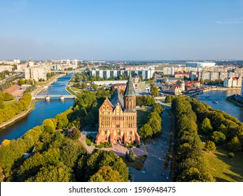 Russia, Kaliningrad - September 20, 2018: Aerial view The central part of the city of Kaliningrad, the Kaliningrad Cathedral on the island of Kant. Russia