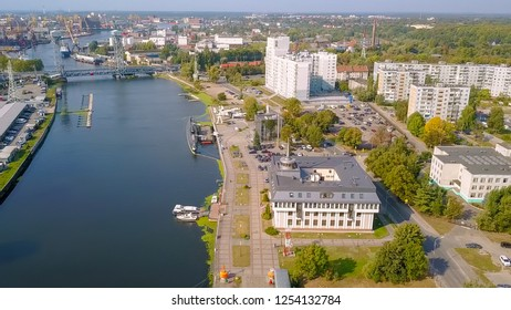 Russia, Kaliningrad - September 21, 2018: Museum of the World Ocean at the pier. SUBMARINE B-413, Seaplane Be-12, From Drone