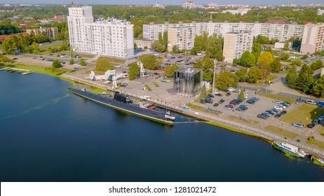 Russia, Kaliningrad - September 21, 2018: SUBMARINE B-413. Ships exhibits of the World Ocean at the pier. Pregolya river, From Drone