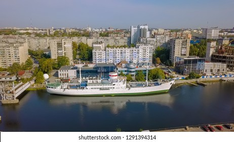 Russia, Kaliningrad - September 21, 2018: Scientific-research vessel VITYAZ. Ships exhibits of the Museum of the World Ocean at the pier. Pregolya River, From Drone