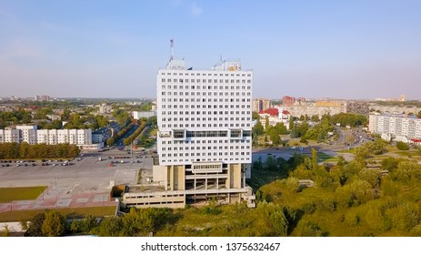 Russia, Kaliningrad - September 21, 2018: The central part of the city of Kaliningrad, the unfinished building House of Soviets in the city of constructivism of the USSR times, From Drone