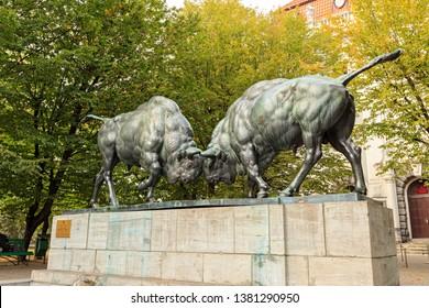 "Russia, Kaliningrad - September 22, 2018: Sculpture ""Fighting Bison"" Sculptor - Augustus Gaul 1911"