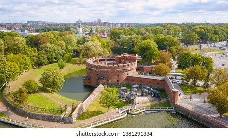 Russia, Kaliningrad - September 22, 2018: KALININGRAD REGIONAL AMBER MUSEUM. It is housed in a fortress tower dating from the mid-nineteenth century, From Drone
