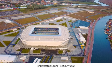 Russia, Kaliningrad - September 24, 2018: Aerial view аt sunset. stadium Kaliningrad - football stadium in Kaliningrad, built in 2018 for the matches of the 2018 FIFA World Cup, From Drone