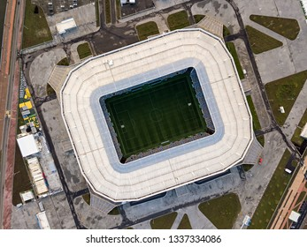 """Russia, Kaliningrad - September 24, 2018: Sunset. Aerial view of the stadium """"Kaliningrad"""" - football stadium in Kaliningrad, built in 2018 specifically for the matches of the 2018 FIFA World Cup"""