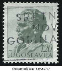 RUSSIA KALININGRAD,12 NOVEMBER 2016: stamp printed by Yugoslavia, shows the portrait of marshal Tito, circa 1974