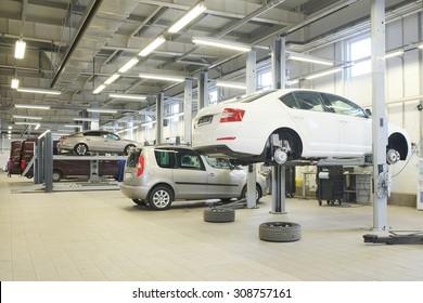 Russia, Kaluga, August, 19, 2015: Interior of a car repair station in Kaluga, Russia