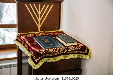 Russia, Kaluga - CIRCA August 2018: Synagogue inside with Torah books at the stand