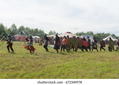 RUSSIA, 'KALUGA REGION',  'DVORTSY' - JUL 1, 2017: Reconstruction of military operations in '1480'. Two camps of Moscow Russia and the Great Horde in the battle on the river 'Ugra'.