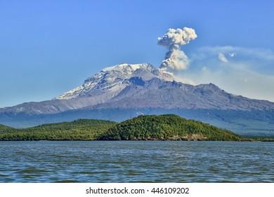 Russia, Kamchatka, Kamchatka Mountain. Shiveluch Volcano.(3283) Active Volcano Of Kamchatka Peninsula.
