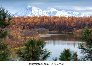 Russia, Kamchatka, Kamchatka Mountain. Shiveluch Volcano.(3307m) Active Volcano Of Kamchatka Peninsula.