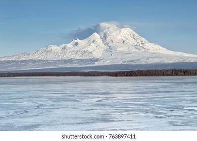 Russia, Kamchatka Mountain. Shiveluch Volcano.(3307m) Active Volcano Of Kamchatka Peninsula.