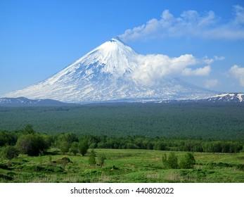 Russia, Kamchatka, Kamchatka Mountain The volcano of Klyuchevskaya Hill (4800 m) is the highest active volcano of Eurasia.