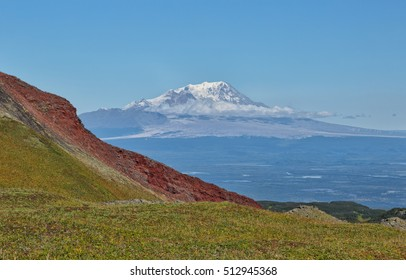 Russia, Kamchatka Mountain.View of Shiveluch Volcano (3307 m) from a volcano's slope of Klyuchevskaya (4800 m) Klyuchevskaya Group of Volcanoes.