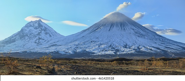 Russia, Kamchatka Peninsula. Klyuchevskaya Hill(4800m) and Kamen Volcano(4585m) The volcano of Klyuchevskaya Hill (4800 m) is the highest active volcano of Eurasia.