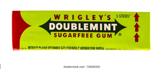 Russia, Kamchatka - SEPTEMBER 20, 2017: Doublemint chewing gum made by Wrigley isolated on white with clipping path