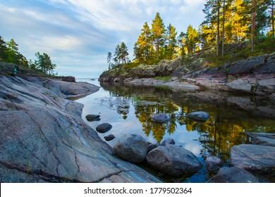 Russia. Karelia. Karelian skerries. lake Ladoga. Channel of lake Ladoga with stony banks. Northern nature. Travel to Karelia.