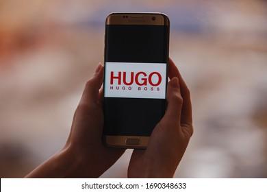 Russia, Kazan Apr 1, 2020: HUGO BOSS company logo on the phone screen. Hugo Boss AG, often referred to as BOSS, is a German luxury fashion house headquartered in Metzingen.